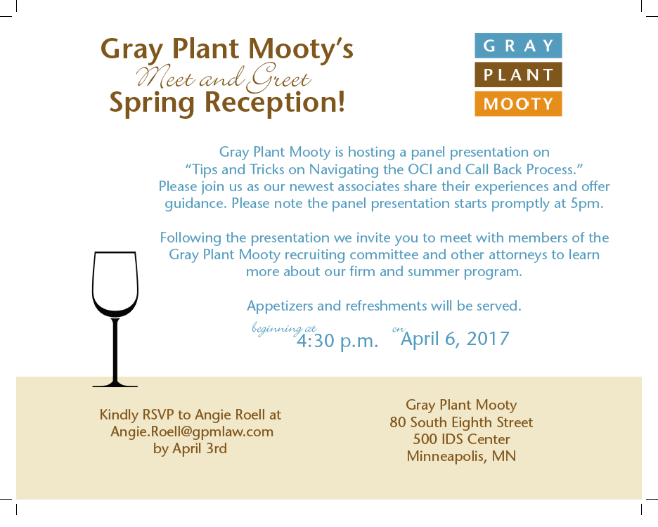 1ls youre invited meet greet with gray plant mooty career and gpm spring reception m4hsunfo
