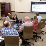 Mitchell Hamline staff conduct a webinar on online learning, March 13, 2020