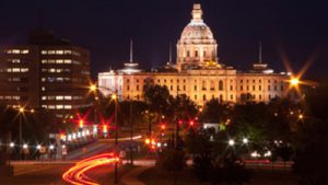 Minnesota State Capital building at night.