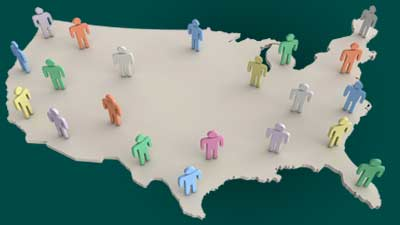 Map of USA with People