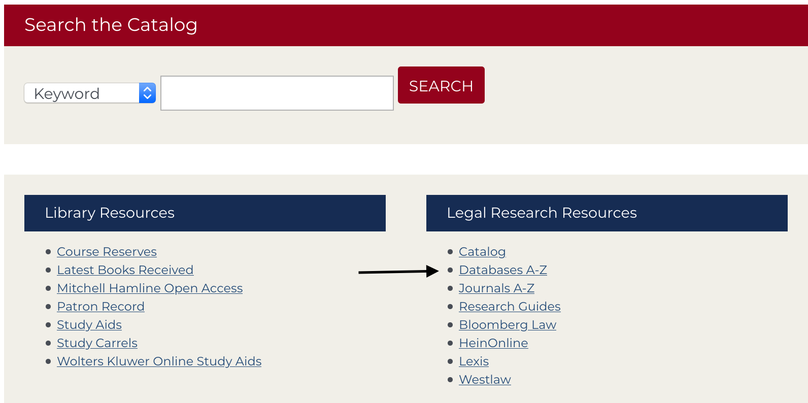 Library homepage with an arrow pointing at the Databases A-Z link