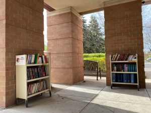 books on bookcarts outside