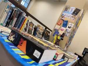 Books displayed on a table