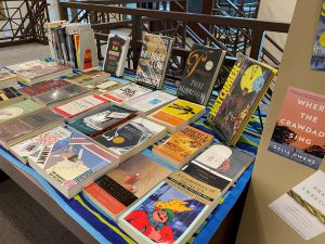 Books laid out on a table.