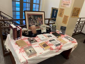 Various books displayed on a table