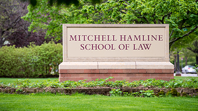 Mitchell Hamline sign along Summit Avenue