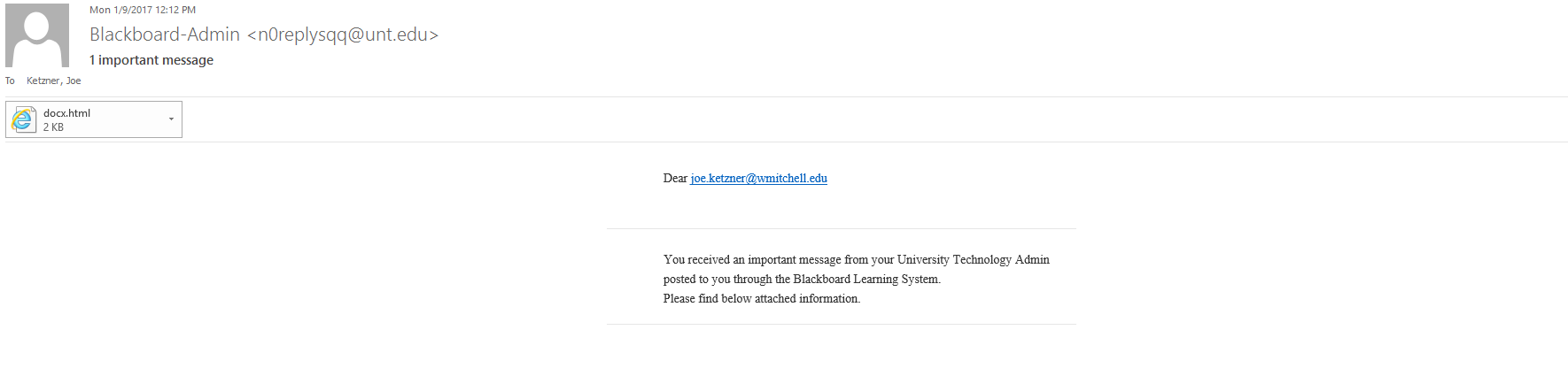 Technology Notice – Beware of Fake Blackboard Email – Technology