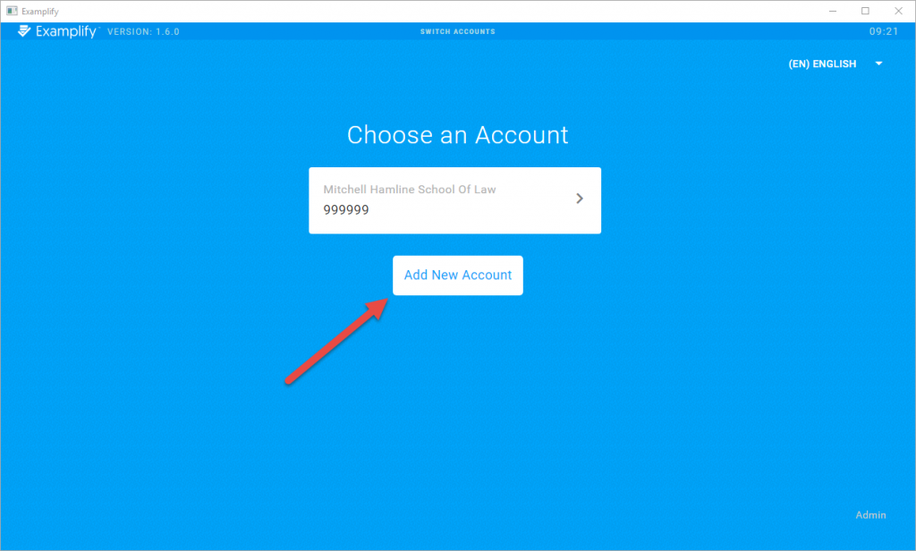 Screenshot of new account page with arrow pointing to add new account button