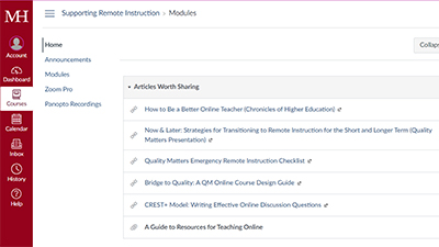 Suppporting Remote Instruction Canvas Course Preview